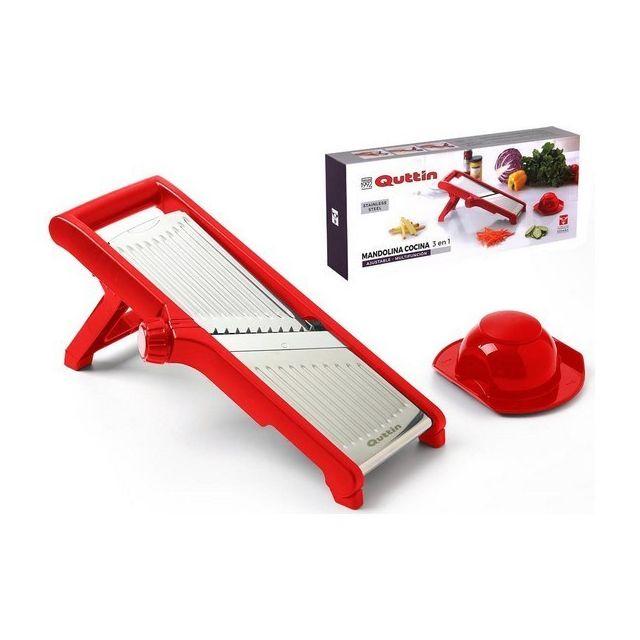 Totalcadeau Mandoline-Râpe en acier inoxydable 3 en 1 Rouge 40 X 17 x 3 cm