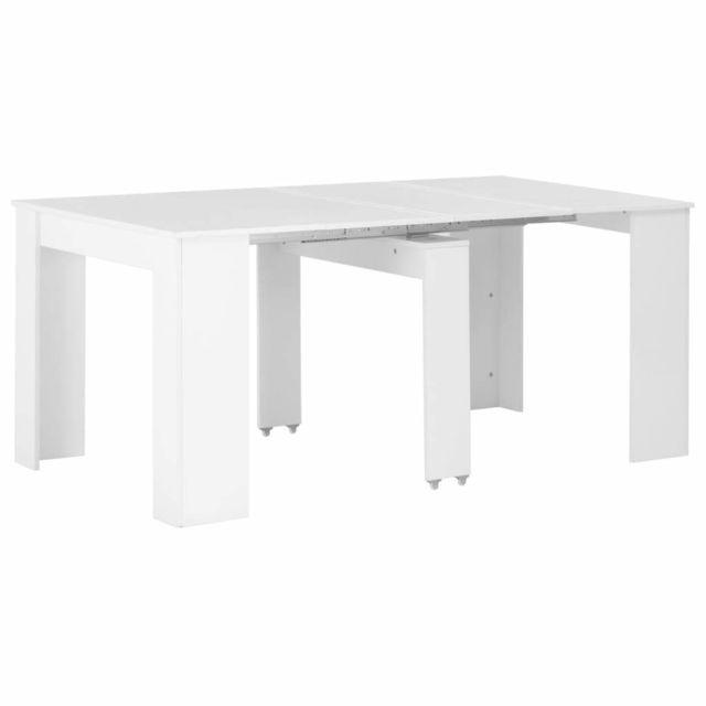 Vidaxl Table à Dîner Extensible Blanc Brillant Salle à Manger Cuisine Maison