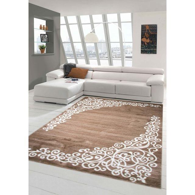 Tapis de salon contemporain, design oriental - New Florida - Beige - 80 X  150 cm