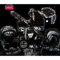 LUX4KIDS - Dino Poussette Trio avec ISOFIX Nacelle Poussette Canne Siège auto Accessoires 05 noir & fleurs