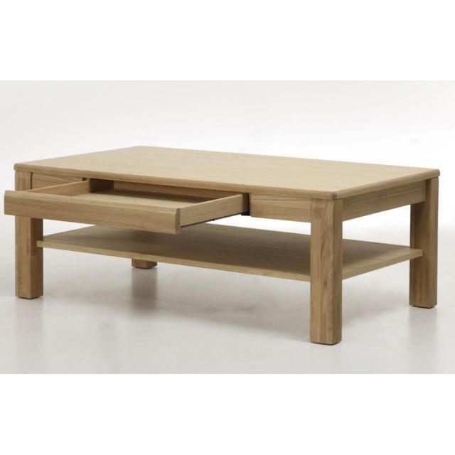 Pegane Table basse design en chêne bianco huilé - 115 x 42 x 65 cm
