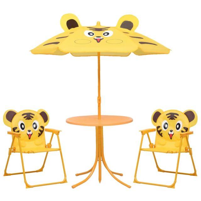Vidaxl Jeu de bistro avec parasol pour enfants 3 pcs Jaune