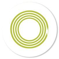 Bruno Evrard - Assiette creuse à rayures vert anis en porcelaine 24cm - Lot de 6 - Porcelaine - Blanc, Vert anis