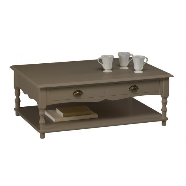 Beaux meubles pas chers table basse taupe rectangle 2 for Table basse taupe