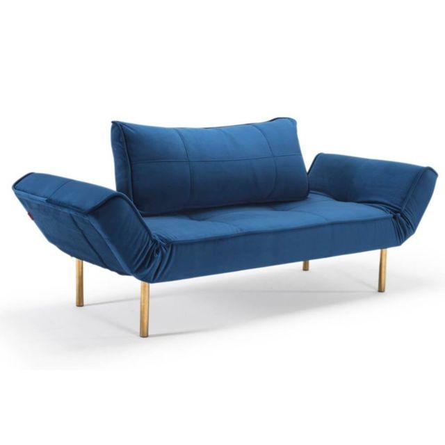 Inside 75 Canape design Zeal Gold Velvet Royal Blue convertible lit 200 70 cm piétements dorés