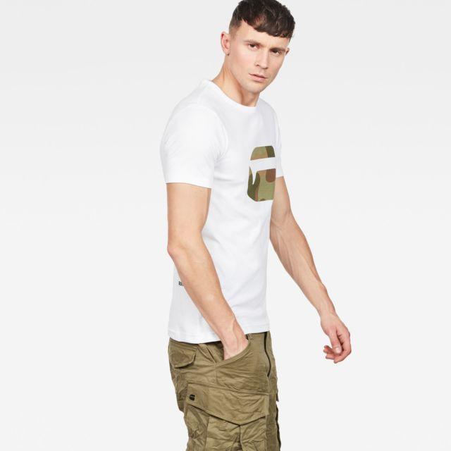 G-STAR RAW T-Shirt MAI SLIM Blanc Coupe slim, col côtelé, imprimé poitrine, Bord-côte simple extensible, tissu doux et confortable, Gamme RAW Sustainable.