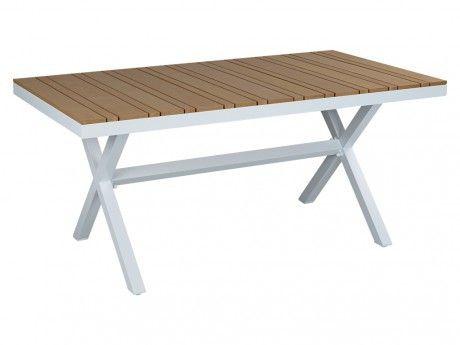 Marque generique table manger de jardin padang blanc et coloris bois pas cher achat for Carrefour table a manger