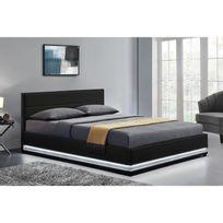 CONCEPT USINE - Lit design New York 140x190cm - Structure de lit en simili Noir avec rangements et LED intégrées