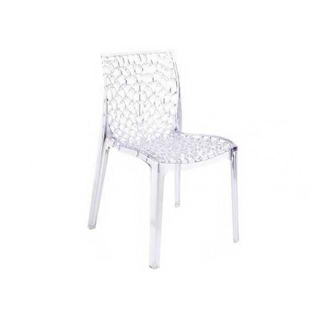 Rue du commerce chaise transparente gruvyer s6316tr pas cher achat vente chaises de - Chaise transparente couleur ...