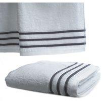 Le Linge De Jules - Serviette De Toilette 50x100 cm 100% Coton - 550 grS/m2 Blanc Avec Liserets Gris