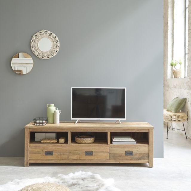Bois Dessus Bois Dessous Meuble Tv en bois de teck recyclé 3 tiroirs