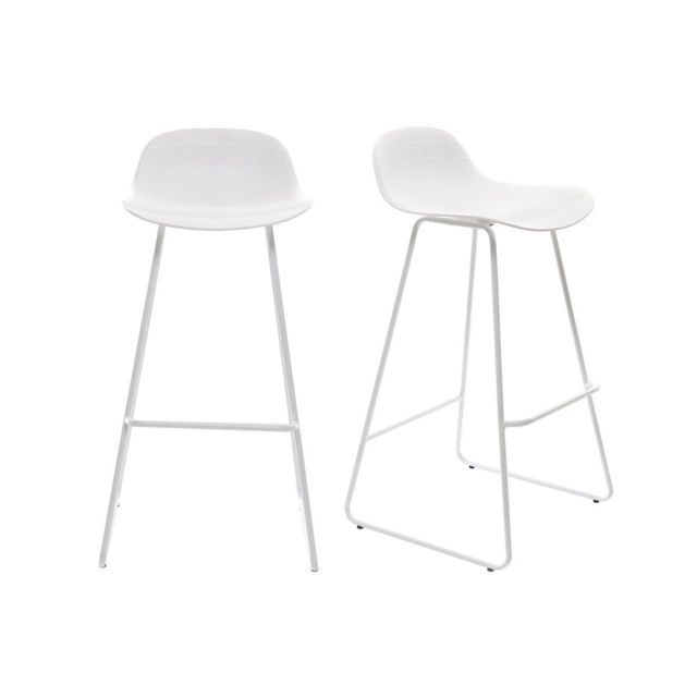 miliboo tabouret de bar design blanc lot de 2 stella gris et noir pas cher achat vente. Black Bedroom Furniture Sets. Home Design Ideas