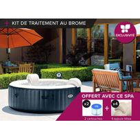 Intex - Spa gonflable PureSpa rond Bulles 6 pl Bleu nuit + Kit Brome