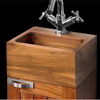 Waduh - Vasque de salle de bains à poser en teck carrée 30x30 cm avec percement robinet - Leyla