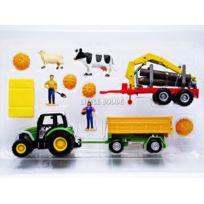 Mondo Motors - Lindner Tracteur avec remorques et personnages - 1/43 - 58008Benne bois