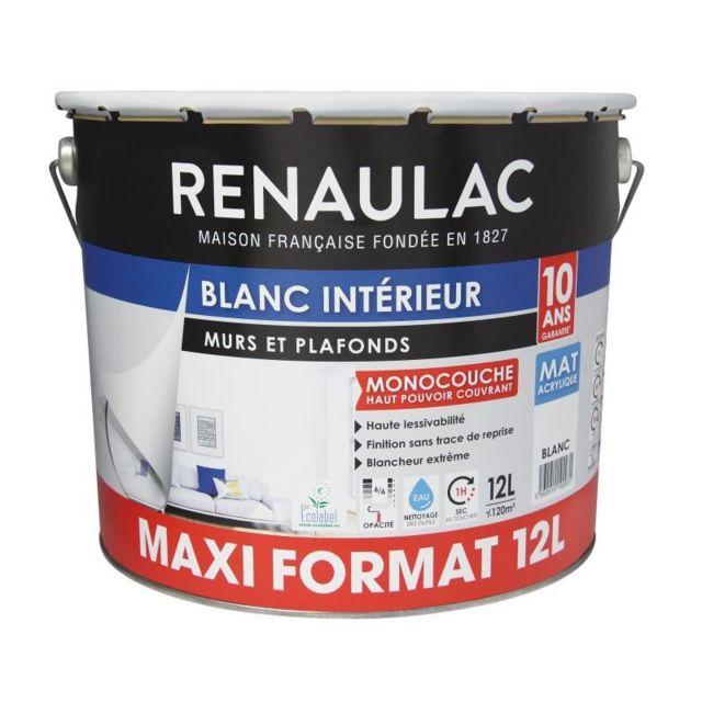 renaulac peinture murs et plafonds monocouche acrylique 12 l mat blanc extreme lessivable