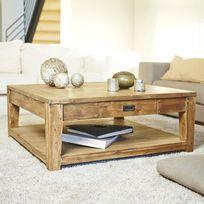 pas cher pour réduction de257 216d4 Table basse carrée en bois de teck recyclé double plateau 100