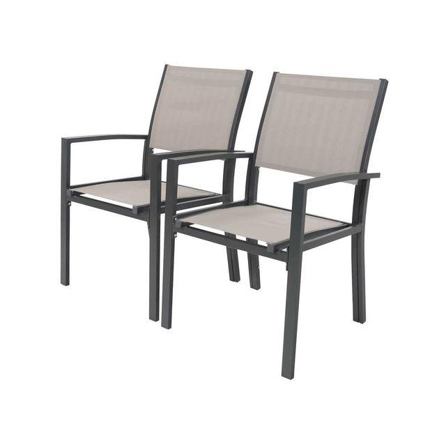 habitat et jardin fauteuil jardin alu textil ne tropic phoenix taupe lot de 2 structure. Black Bedroom Furniture Sets. Home Design Ideas