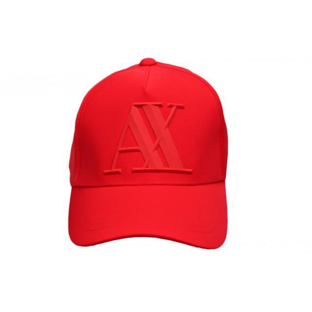 acheter en ligne e4659 c8069 Casquette Armani Exchange rouge logo gomme en élastomultiester pour homme