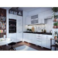 Cuisine Blanc Laquée Infinity Frigo Et Four Encastrables 360 Cm