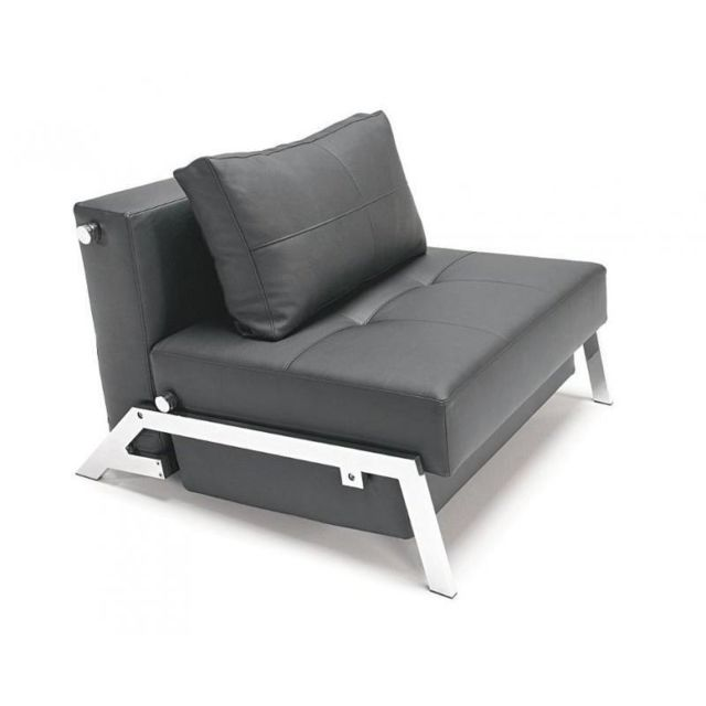 Inside 75 Innovation Living Fauteuil lit design Sofabed Cubed Chrome tissu enduit noir convertible 200cm