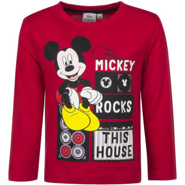 Marque Generique - Pull Mickey Mouse T-shirt manche longue 6 ans Rouge 1e84f16cad1