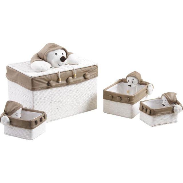 AUBRY GASPARD Coffre à jouet en osier blanc
