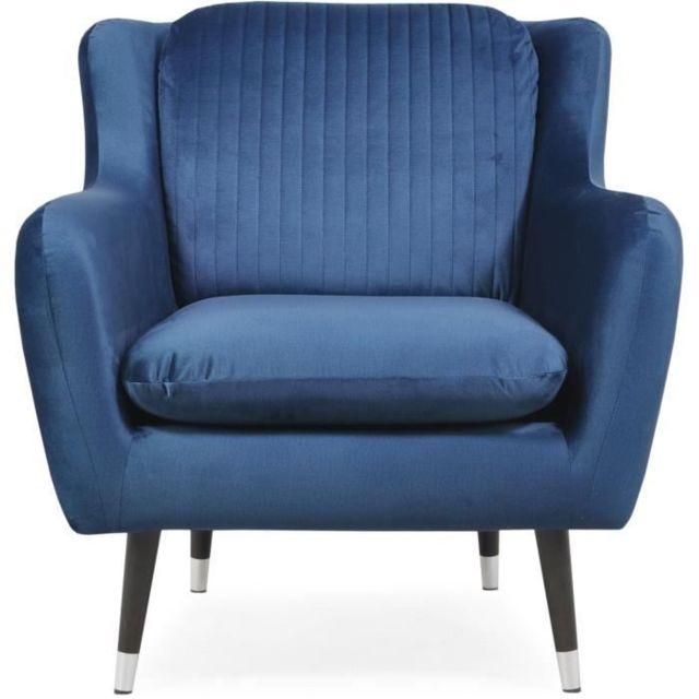 CANAPE - SOFA - DIVAN CELIAN Fauteuil en tissu Bleu nuit - L 85 x P 87 x H 92 cm