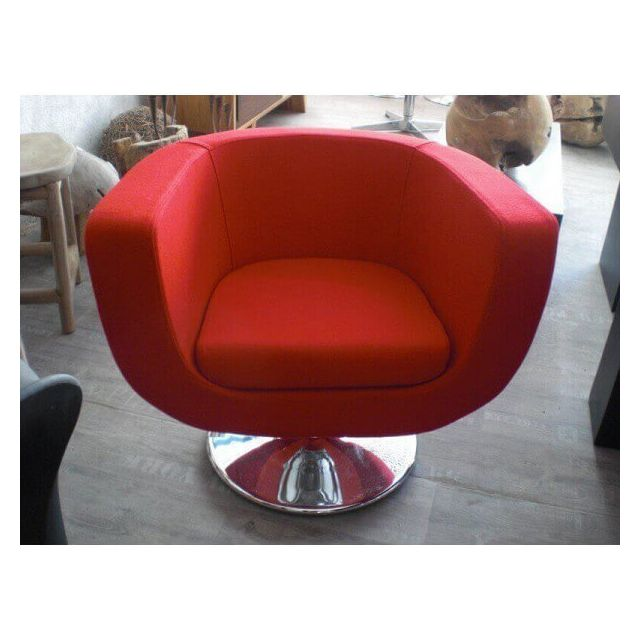 Mathi Design Lounge - Fauteuil design en tissu rouge