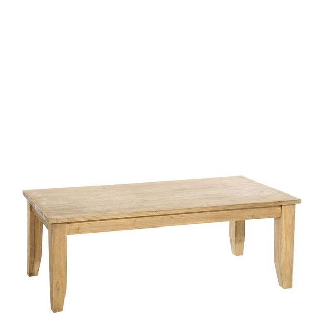 Ma Maison Mes Tendances Table basse rectangulaire en bois massif Zenela - L 130 x l 60 x H 45