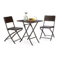 Ensemble table et chaises de jardin en métal terrasse balcon camping marron  2213016