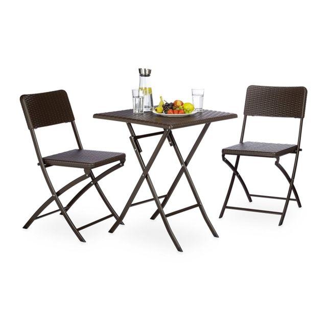 Autre Ensemble table et chaises de jardin en métal terrasse balcon camping marron 2213016