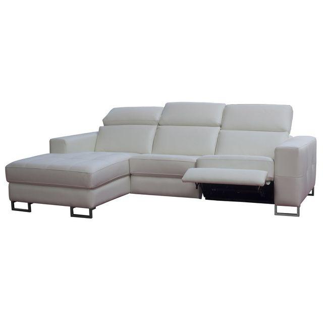 MOMENTIME Canapé d'angle en cuir avec relax électrique latéral PANDORE - Blanc - Gauche