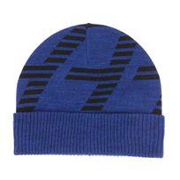 544a05405397 Armani Ea7 - Bonnet à revers Ea7 en laine bleu électrique chiné floqué en  noir