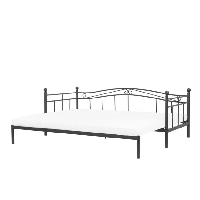BELIANI Lit extensible noir 90/180 x 200 cm TULLE - gris foncé