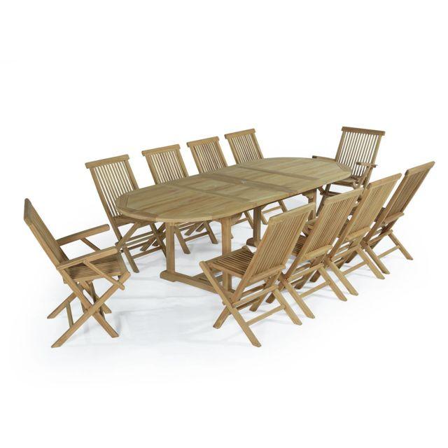 Teck\'ATTITUDE - Salon de jardin en teck Ecograde Aore, table ...