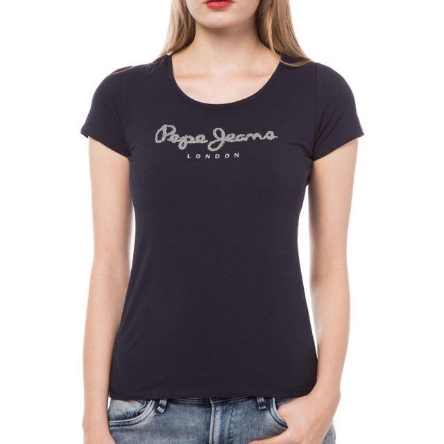 Pepe Jeans - T Shirt Manches Courtes - Femme - Rachels - Navy Bleu - pas  cher Achat   Vente Tee-shirts, tops - RueDuCommerce 1e5aec14c6db
