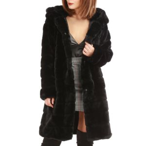 Manteau noir femme avec capuche fourrure noire