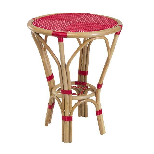 Rotin Design - Table Bistrot - Rouge - table ronde de ...
