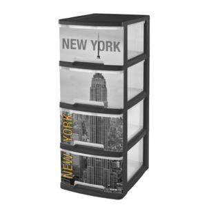 curver tour de rangement roulettes 4 tiroirs 40l imprim new york 203620 noir et. Black Bedroom Furniture Sets. Home Design Ideas