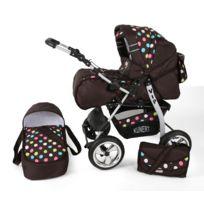Kunert - Poussette / Landau combiné 2en1 multifonctions bébé enfant 0-36m avec équipement Roues en mousse Volver | Marron - Points mulitcolorés