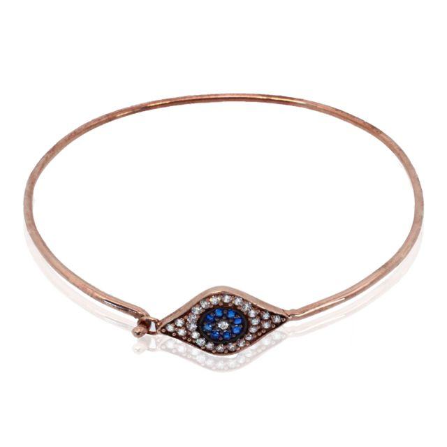 Alexandra Plata Bracelet en argent sterling plaqué oren forme d'un oeil