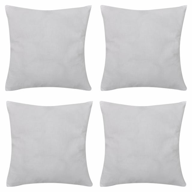 Rocambolesk Superbe 4 Taies d'oreiller Blanc en coton 80 x 80 cm neuf