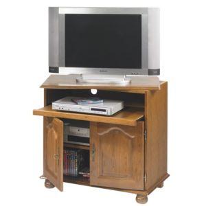beaux meubles pas chers meuble tv ch ne plateau pivotant et coulissant marron pas cher achat. Black Bedroom Furniture Sets. Home Design Ideas