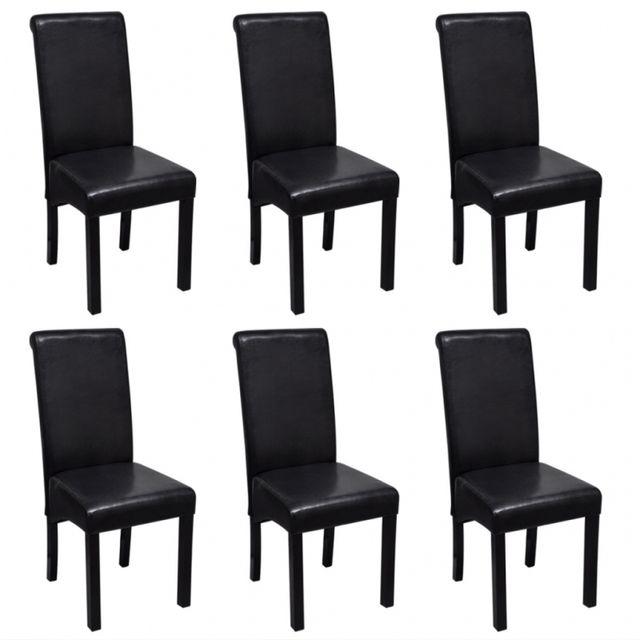 Casasmart Lot de 6 chaises en simili cuir noir