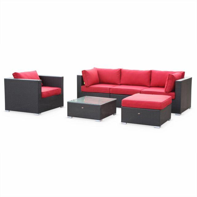 Salon de jardin en résine tressée - Caligari - Noir, Coussins rouge - 5  places - 1 fauteuil, 1 fauteuil sans accoudoir, 1 pouf, 2 fauteuils  d\'angle, ...