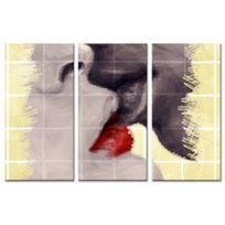 Declina - Tableau sur toile deco moderne le baiser - Cadre triptyque