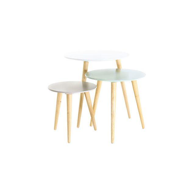 Lot de 3 tables gigognes blanc bleu et gris - Baltic