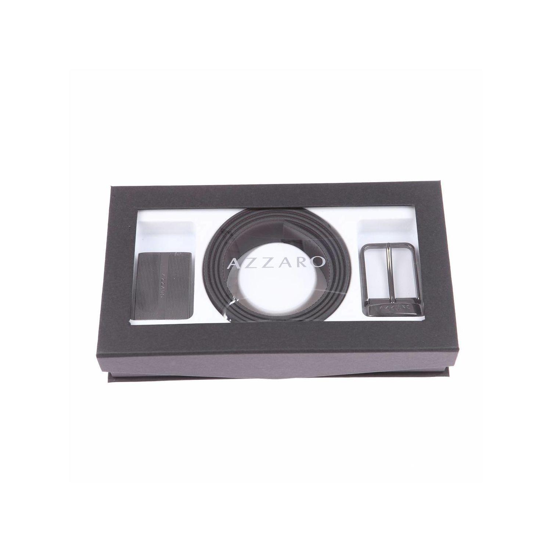 8f2f022adf9c AZZARO- Coffret cadeau   ceinture ajustable, en cuir noir réversible, à  boucle pleine