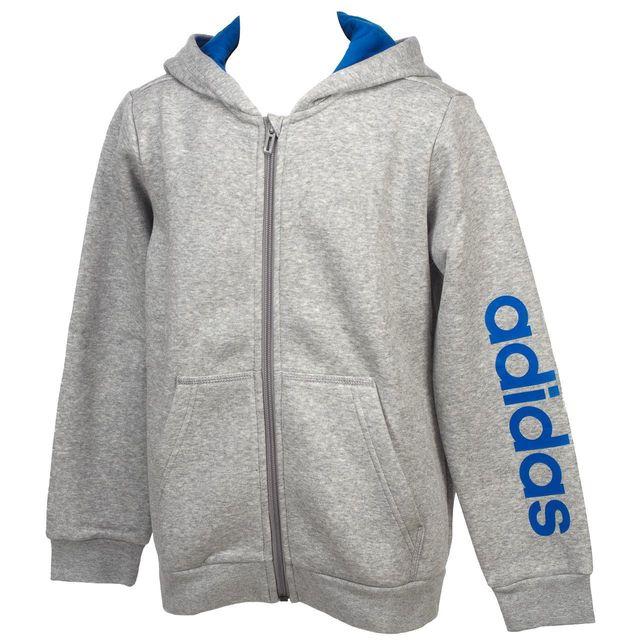 4cd9ca77592f1 Adidas - Vestes sweats zippés capuche Lin gris mel fz cap sw jr Gris 53129  - pas cher Achat   Vente Manteau enfant - RueDuCommerce